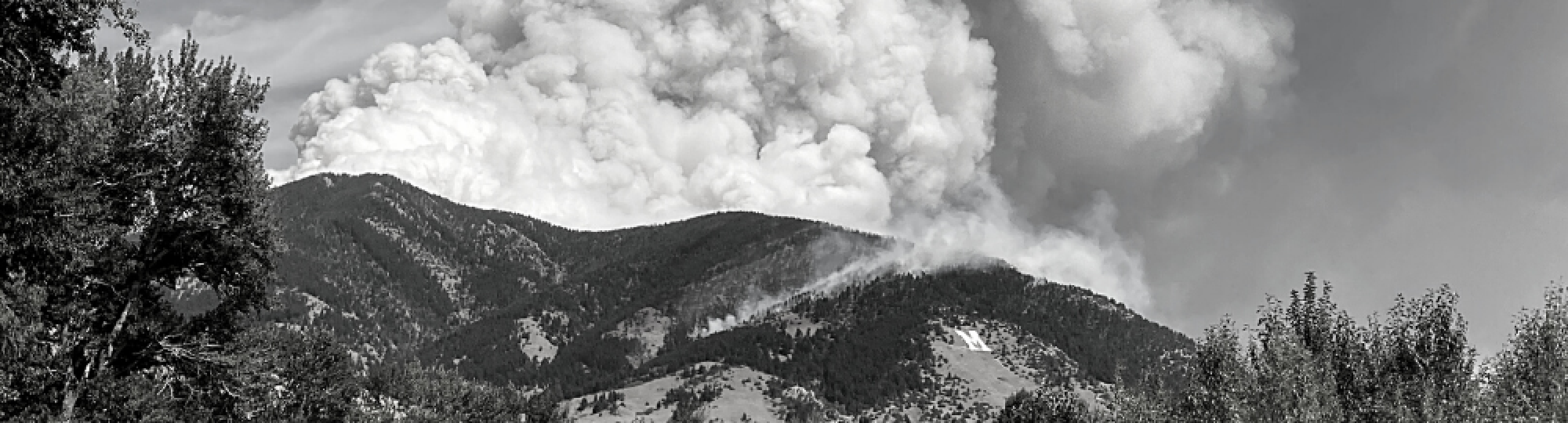 Black and white photo of smoke rising from wildfire in bridger mountains