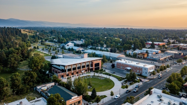 Bird's eye view of Bozeman Public Library
